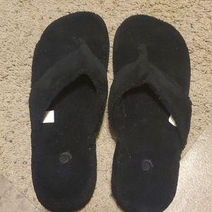 New Acorn Black Spa Thong Terry Slipper 8-9